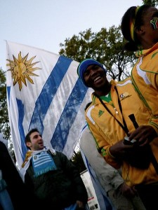 Supporters at 2010 World Cup festivities. Image: Patrick de Laive.
