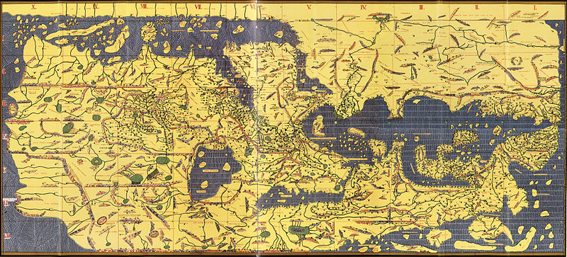 Arab geographer al-Idrisi gathered info from Arab merchant travelers to make this map in 1154. Although it looks upside down to us, it's one of the most accurate maps at this point in history.  Image: National Library of France, via Wikimedia Commons.