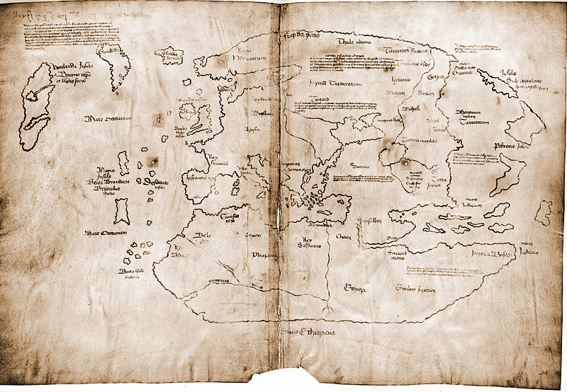 "The so-called ""Vinland Map"" dates to around 1438, many decades before Columbus landed in the Americas, and purports to show lands visited by the Vikings. It is still a matter of debate among scholars whether the map is authentic or a forgery. Image: Yale University Press, via Wikimedia Commons."