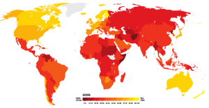 Citizens' perception of corruption across the world. Dark red means highly corrupt, yellow means very clean. Image: Transparency International