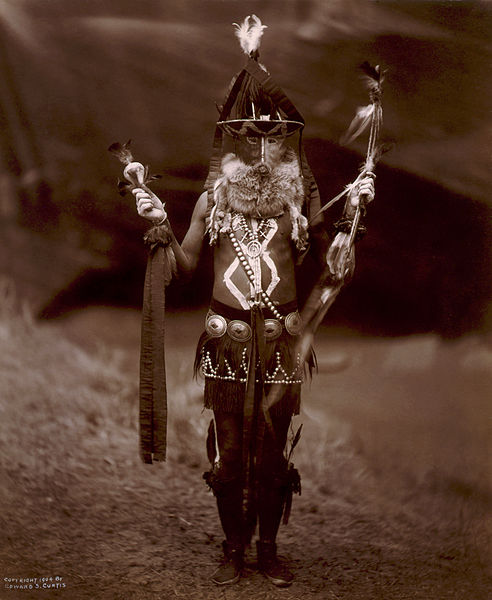 A Navaho man dressed as a god impersonator. Image: Edward S. Curtis, Library of Congress.