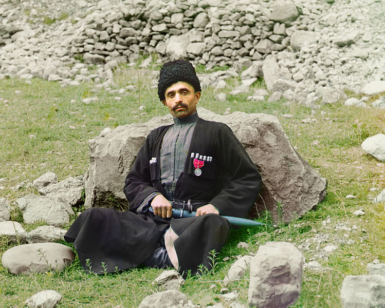 A Muslim man from Dagestan in traditional military clothes. Image: Sergei Prokudin-Gorskii, Library of Congress.