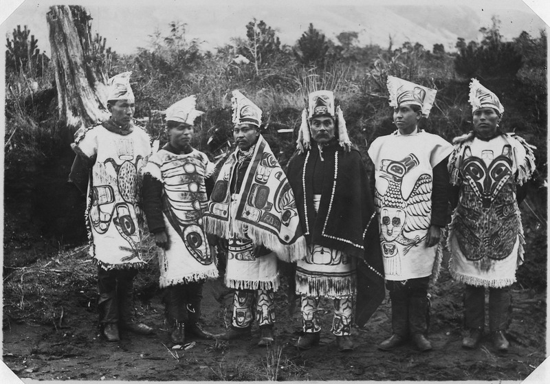 Native Americans of the Pacific coast in ceremonial clothing. Image: Benjamin Haldane, U.S. National Archives and Records Administration.