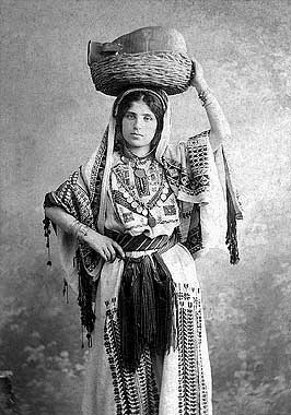 An Arabic traditional dress in Ramallah, Palestine, 1920. Image: Khalil Raad.