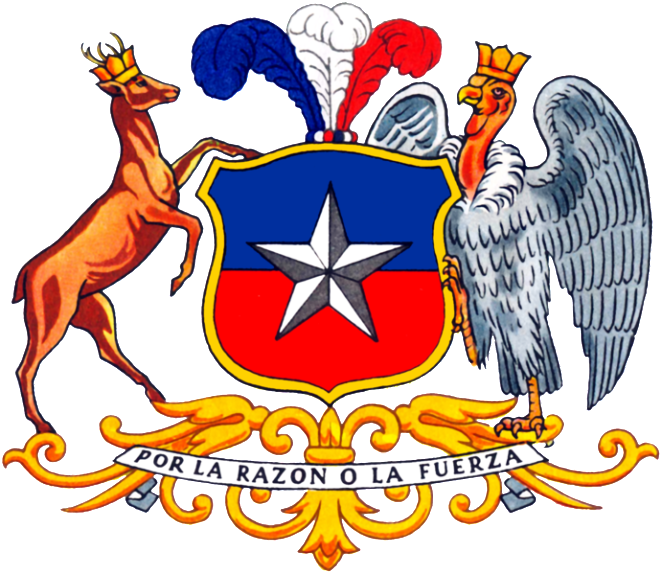 "Chile's arms are supported by a condor, a huge bird of the Andes Mountains with wingspans as long as 10 feet. The motto reads ""By reason or force."" Credit: Charles Wood Taylor, Alex:D."