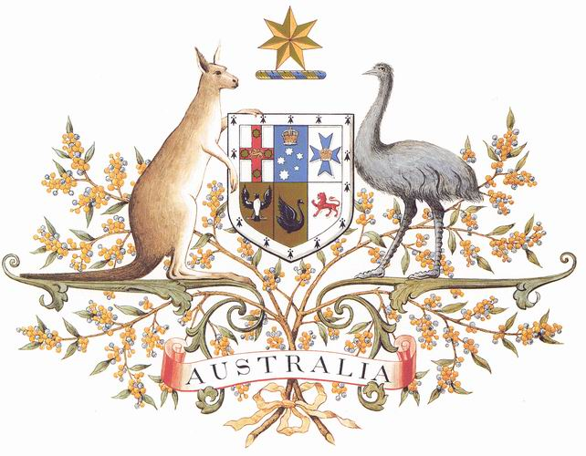 The Australian shield shows the insignia of each of the country's six states. Credit: André Koehne.