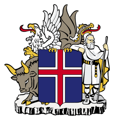 Iceland's coat. It was illegal for Vikings to show their dragonhead masts in the island's direction, lest they provoke one of its four protectors, the eagle, dragon, bull and rock giant. Credit: Kjallakr, Rkt2312, http://en.wikipedia.org/wiki/Coat_of_arms_of_Iceland.