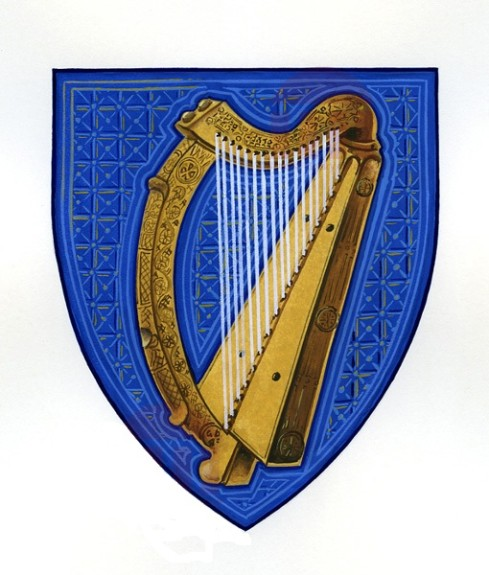 The Irish coat of arms. Celtic harps have been played on the island for over a thousand years. Credit: National Library of Ireland.