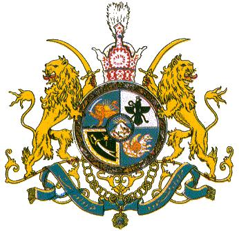The imperial coat of arms for the Shahs of Iran. The winged Farvahar symbol in the top right quarter is from Zoroastrianism, an ancient Persian religion, and is still a popular symbol in the Muslim country. Credit: Kolomaznik.