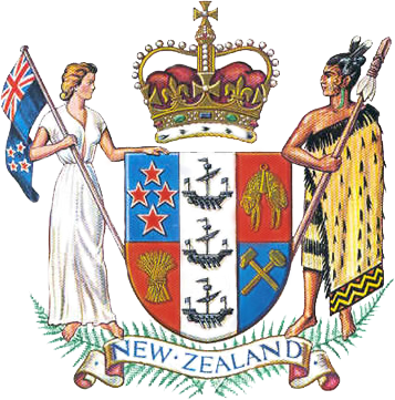 The New Zealand coat shows a Maori chieftain and a European woman, representing the two major ethnic groups. The three black ships represent the Kiwis' importance as sea traders. Credit: Manatū Taonga, Ministry for Culture and Heritage.