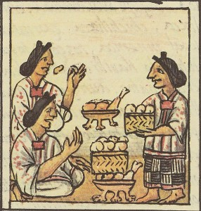 Illustration of an Aztec meal. Image: The Florentine Codex.