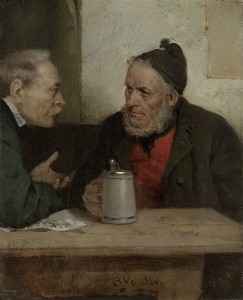"""Conversation at the Regulars' Table"" by Benjamin Vautier."