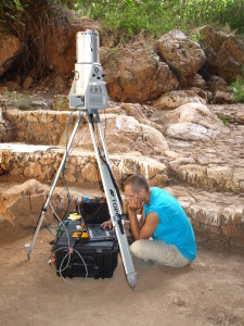 Jon Frey conducting a 3D laser scan survey on the island of Crete in Greece. Image: Susannah Van Horn.