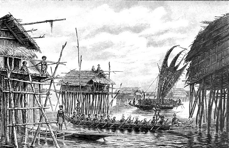 "Stilted dwellings from Papua New Guinea. Image: From the book ""Woman Triumphant"" by Rudolf Cronau."