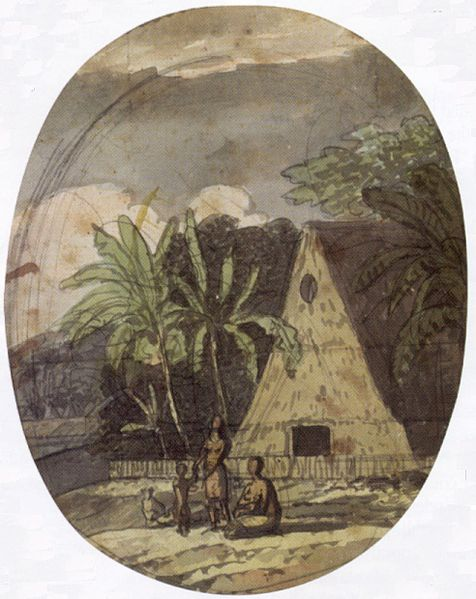 """Grass House, Hawaii,"" by Louis Choris, 1816."