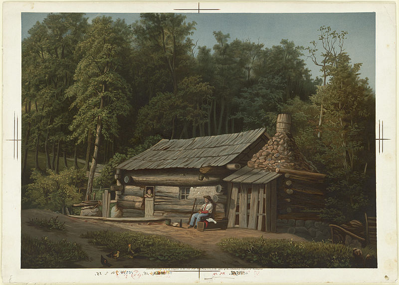 """The Log Cabin,"" by J. H. Gregg. Log cabins were a mainstay on the American frontier."