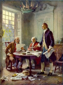 """""""Writing the Declaration of Independence, 1776"""" by Jean Leon Gerome Ferris. From the right: Thomas Jefferson, John Adams and Benjamin Franklin."""
