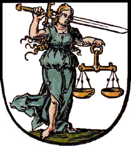 An image of Iustitia, the Roman goddess of justice.