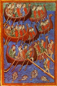 """Danes invading England. Image: """"Miscellany on the life of St. Edmund,"""" Pierpont Morgan Library, New York."""