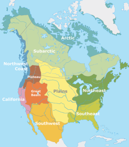 A map of cultural-linguistic groups of Native American tribes.  Devised by anthropologist Alfred Kroeber.