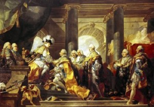 Louis XVI receiving homage from knights at Reims.
